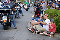 NWA Democrat-Gazette/BEN GOFF @NWABENGOFF<br /> Bikers cruise Dickson Street on Saturday Sept. 26, 2015 during the annual Bikes, Blues & BBQ motorcycle rally in downtown Fayetteville.