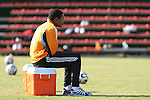 16 November 2007: Ricardo Clark, suspended from the final, watches practice. The Houston Dynamo practiced at the RFK Stadium Auxiliary Field in Washington, DC two days before playing in MLS Cup 2007, Major League Soccer's championship game.