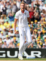Stuart Broad of England celebrates taking the wicket of Ryan Harris - England vs Australia - 5th day of the 5th Investec Ashes Test match at The Kia Oval, London - 25/08/13 - MANDATORY CREDIT: Rob Newell/TGSPHOTO - Self billing applies where appropriate - 0845 094 6026 - contact@tgsphoto.co.uk - NO UNPAID USE