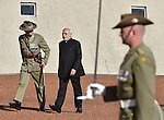 AUSTRALIA, Canberra : Indian Prime Minister Narendra Modi inspects the Federation Guard during the ceremonial welcome on the forecourt of Parliament House in Canberra on November 18, 2014. AFP PHOTO / MARK GRAHAM