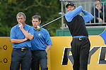 Ryder Cup 206 K Club, Straffan, Ireland..European Ryder Cup team players Darren Clarke and Lee Westwood watch Tiger Woods tee off from the tee box of the 4th hole during  the  morning fourballs session of the second day of the 2006 Ryder Cup at the K Club in Straffan, Co Kildare, in the Republic of Ireland, 23 September 2006...Photo: Eoin Clarke/ Newsfile.