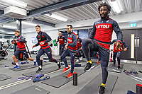 (L-R) Tom Carroll, Alfie Mawson, Leon Britton and Wilfried Bony exercise in the gym during the Swansea City Training at The Fairwood Training Ground, Swansea, Wales, UK. Thursday 11 January 2018