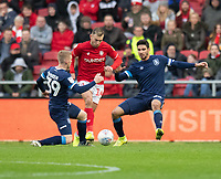 Bristol City's Andreas Weimann under pressure from  Huddersfield Town's Lewis O'Brien (left)  and Christopher Schindler (right) <br /> <br /> Photographer David Horton/CameraSport<br /> <br /> The EFL Sky Bet Championship - Bristol City v Huddersfield Town - Saturday 30th November 2019 - Ashton Gate Stadium - Bristol<br /> <br /> World Copyright © 2019 CameraSport. All rights reserved. 43 Linden Ave. Countesthorpe. Leicester. England. LE8 5PG - Tel: +44 (0) 116 277 4147 - admin@camerasport.com - www.camerasport.com