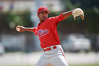 Philadelphia Phillies pitcher Adonis Medina (25) during a minor league Spring Training game against the Pittsburgh Pirates on March 24, 2017 at Carpenter Complex in Clearwater, Florida.  (Mike Janes/Four Seam Images)
