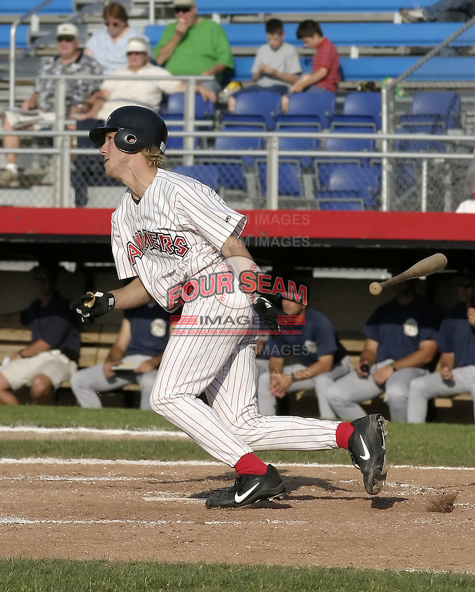 July 3, 2004:  Catcher Brad Davis of the Jamestown Jammers, Single-A NY-Penn League affiliate of the Florida Marlins, during a game at Russell Diethrick Park in Jamestown, NY.  Photo by:  Mike Janes/Four Seam Images