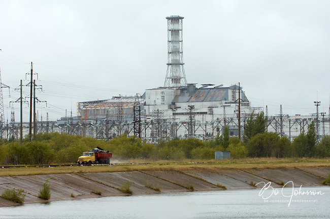 Reactors 3 and 4 (with sarcophagus) at the Chernobyl Nuclear Power Plant.<br />