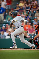 Trenton Thunder designated hitter Jhalan Jackson (25) follows through on a swing during a game against the Richmond Flying Squirrels on May 11, 2018 at The Diamond in Richmond, Virginia.  Richmond defeated Trenton 6-1.  (Mike Janes/Four Seam Images)