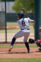 AZL Indians Red Christian Cairo (8) at bat during an Arizona League game against the AZL Indians Blue on July 7, 2019 at the Cleveland Indians Spring Training Complex in Goodyear, Arizona. The AZL Indians Blue defeated the AZL Indians Red 5-4. (Zachary Lucy/Four Seam Images)