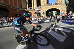 Michael Schwarzmann (GER) Bora-Hansgrohe rounds the hairpin to commence the San Luca climb during Stage 1 of the 2019 Giro d'Italia, an individual time trial running 8km from Bologna to the Sanctuary of San Luca, Bologna, Italy. 11th May 2019.<br /> Picture: Eoin Clarke | Cyclefile<br /> <br /> All photos usage must carry mandatory copyright credit (© Cyclefile | Eoin Clarke)