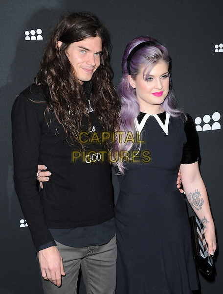 Matthew Mosshart &amp; Kelly Osbourne<br /> The Myspace Event held at The El Rey Theatre in Los Angeles, California, USA.<br /> June 12th, 2013   <br /> half length dress tattoos top couple god black white collar trim pink lipstick dyed purple hair  <br /> CAP/DVS<br /> &copy;DVS/Capital Pictures
