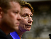 Barbara M. Barrett, right, testifies on her nomination to be Secretary of the Air Force before the United States Senate Committee on Armed Services on Capitol Hill in Washington, DC on Thursday, September 12, 2019.  Ryan D. McCarthy, who is also testifying on his nomination to be Secretary of the Army, listens at right.<br /> Credit: Ron Sachs / CNP