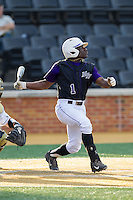 Josh Greene (1) of the High Point Panthers hits a grand slam in the top of the second inning against the Wake Forest Demon Deacons at Wake Forest Baseball Park on April 2, 2014 in Winston-Salem, North Carolina.  The Demon Deacons defeated the Panthers 10-6.  (Brian Westerholt/Four Seam Images)