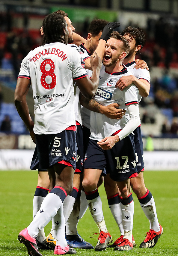 Bolton Wanderers' Clayton Donaldson celebrates scoring his side's third goal with team mate Craig Noone <br /> <br /> Photographer Andrew Kearns/CameraSport<br /> <br /> Emirates FA Cup Third Round - Bolton Wanderers v Walsall - Saturday 5th January 2019 - University of Bolton Stadium - Bolton<br />  <br /> World Copyright © 2019 CameraSport. All rights reserved. 43 Linden Ave. Countesthorpe. Leicester. England. LE8 5PG - Tel: +44 (0) 116 277 4147 - admin@camerasport.com - www.camerasport.com