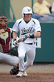South Florida Bulls third baseman Zac Gilcrease (16) during a game against the Florida State Seminoles on March 5, 2014 at Red McEwen Field in Tampa, Florida.  Florida State defeated South Florida 4-1.  (Copyright Mike Janes Photography)