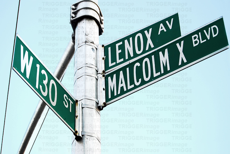 Street sign in Harlem, New York City, on Malcolm X Boulevard.