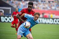 BRONX, NY - Sunday July 12, 2015: New York City FC ties Toronto FC 4-4 at home at Yankee Stadium during the 2015 MLS regular season.