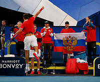 3rd January 2020; RAC Arena, Perth, Western Australia; ATP Cup Australia, Perth, Day 1, Russia versus Italy; Karen Khachanov of Russia celebrates defeating Stefano Travaglia of Italy 2 sets to love - Editorial Use