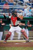Batavia Muckdogs catcher Pablo Garcia (4) throws to second base during a game against the Williamsport Crosscutters on June 22, 2018 at Dwyer Stadium in Batavia, New York.  Williamsport defeated Batavia 9-7.  (Mike Janes/Four Seam Images)