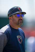 Lancaster JetHawks manager Fred Ocasio (28) during a California League game against the San Jose Giants at San Jose Municipal Stadium on May 13, 2018 in San Jose, California. San Jose defeated Lancaster 3-0. (Zachary Lucy/Four Seam Images)