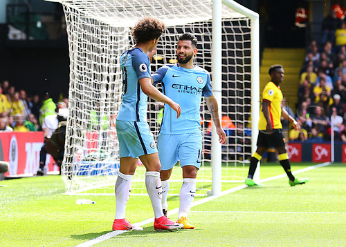 May 21st 2017, Vicarage Road, Watford, Herts, England; EPL Premier league football, Watford versus Manchester City; Sergio Aguero of Manchester City makes it 0-3 in the 36th minute, and celebrates with Leroy Sane