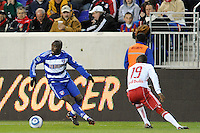 Jair Benitez (5) of FC Dallas and Dane Richards (19) of the New York Red Bulls. The New York Red Bulls defeated FC Dallas 2-1 during a Major League Soccer (MLS) match at Red Bull Arena in Harrison, NJ, on April 17, 2010.