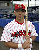 August 4, 2004:  Catcher Jason Jaramillo of the Batavia Muckdogs, Short-Season Single-A affiliate of the Philadelphia Phillies, during a game at Dwyer Stadium in Batavia, NY.  Photo by:  Mike Janes/Four Seam Images