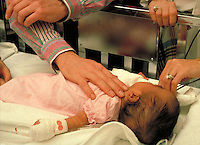Health Care, Pediatric, Newborn, medicine, hands comforting baby, in crib, medical equipment, procedures, medicine.