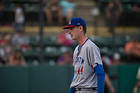 Stockton Ports starting pitcher Brian Howard (44) walks off the field between innings of a California League game against the Visalia Rawhide at Visalia Recreation Ballpark on May 8, 2018 in Visalia, California. Stockton defeated Visalia 6-2. (Zachary Lucy/Four Seam Images)