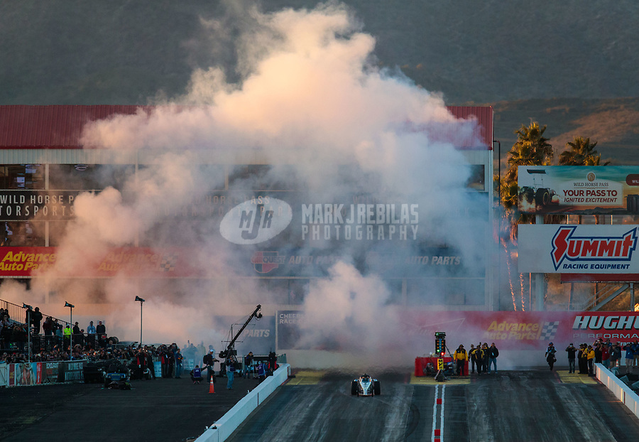 Feb 23, 2019; Chandler, AZ, USA; NHRA jet dragster car driver Scott Arriaga during qualifying for the Arizona Nationals at Wild Horse Pass Motorsports Park. Mandatory Credit: Mark J. Rebilas-USA TODAY Sports