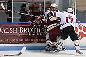 Tyler McNeely (NU - 94), Matt Price (BC - 25), Tim Kunes (BC - 6), Steve Silva (NU - 17) - The visiting Boston College Eagles defeated the Northeastern University Huskies 4-1 on NU's senior night, Saturday, March 8, 2008, at Matthews Arena in Boston, Massachusetts.