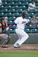 Keon Barnum (32) of the Winston-Salem Dash follows through on his swing against the Frederick Keys at BB&T Ballpark on May 24, 2016 in Winston-Salem, North Carolina.  The Keys defeated the Dash 7-1.  (Brian Westerholt/Four Seam Images)