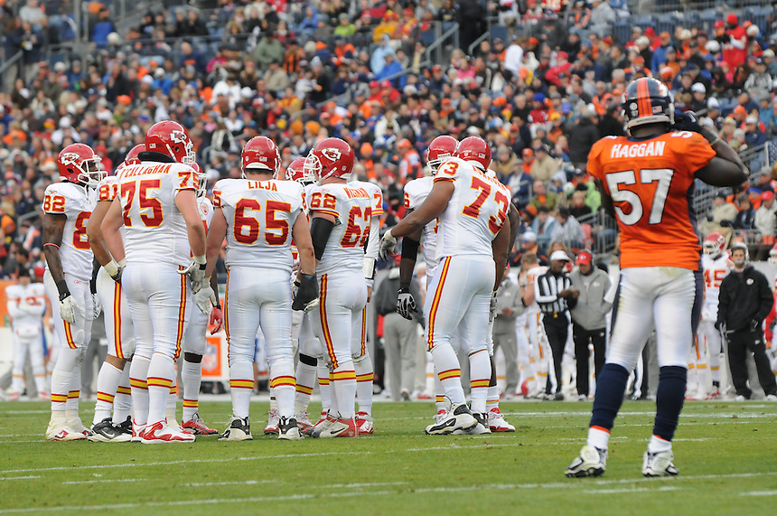 14 NOVEMBER 2010:  The Kansas City Chiefs huddle as they make a push toward the end zone  during a regular season National Football League game between the Kansas City Chiefs and the Denver Broncos at Invesco Field at Mile High in Denver, Colorado. The Broncos beat the Chiefs 49-29.