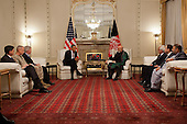 United States President Barack Obama participates in a bilateral meeting with President Hamid Karzai of Afghanistan at the Presidential Palace in Kabul, Afghanistan, May 1, 2012..Mandatory Credit: Pete Souza - White House via CNP