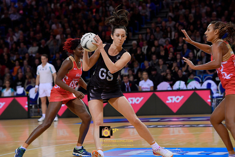 Silver Ferns' Bailey Mes in action during the International Netball - NZ Silver Ferns v England Roses at Te Rauparaha Arena, Porirua, New Zealand on Thursday 7 September 2017.<br /> Photo by Masanori Udagawa. <br /> www.photowellington.photoshelter.com