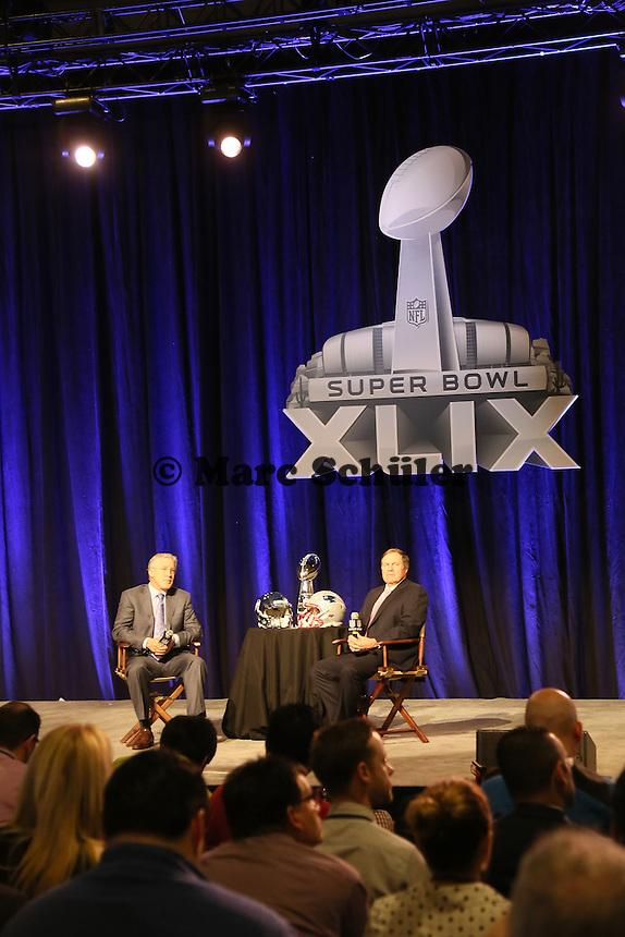 Head Coach Pete Carroll (Seahawks) , Head Coach Bill Belichick (Patriots) - Gemeinsame Team Pressekonferenz Super Bowl XLIX, Convention Center Phoenix