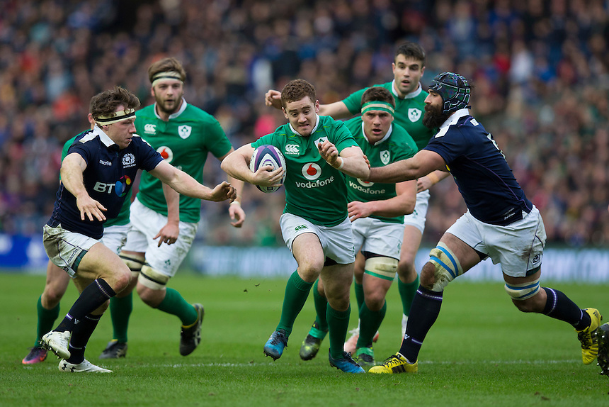Ireland's Paddy Jackson makes a break       <br /> <br /> <br /> Photographer Craig Mercer/CameraSport<br /> <br /> RBS Six Nations Championship - Scotland v Ireland - Saturday 4th February 2017 - Murrayfield - Edinburgh - Scotland<br /> <br /> World Copyright &copy; 2017 CameraSport. All rights reserved. 43 Linden Ave. Countesthorpe. Leicester. England. LE8 5PG - Tel: +44 (0) 116 277 4147 - admin@camerasport.com - www.camerasport.com