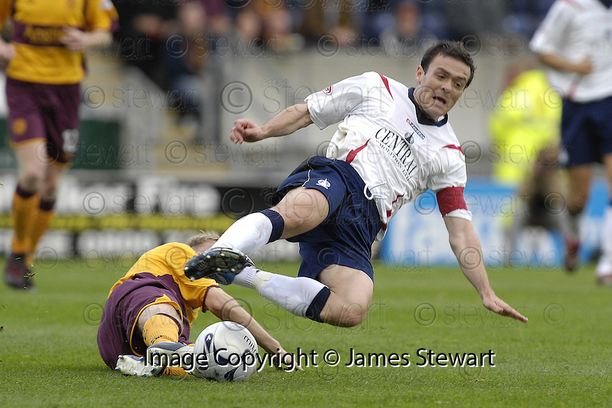 22/09/2007       Copyright Pic: James Stewart.File Name : sct_jspa03_falkirk_v_motherwell.STEPHEN HUGHES CHALLENGES STEVEN THOMSON... .James Stewart Photo Agency 19 Carronlea Drive, Falkirk. FK2 8DN      Vat Reg No. 607 6932 25.Office     : +44 (0)1324 570906     .Mobile   : +44 (0)7721 416997.Fax         : +44 (0)1324 570906.E-mail  :  jim@jspa.co.uk.If you require further information then contact Jim Stewart on any of the numbers above........