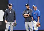 (L-R) Masahiro Tanaka, Hiroki Kuroda (Yankees), Daisuke Matsuzaka (Mets),<br /> MAY 15, 2014 - MLB :<br /> Daisuke Matsuzaka of the New York Mets talks with Hiroki Kuroda and Masahiro Tanaka of the New York Yankees during practice before the Major League Baseball game at Citi Field in Flushing, New York, United States. (Photo by AFLO)