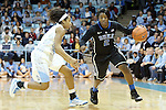 03 February 2013: Duke's Alexis Jones (2) and North Carolina's Danielle Butts (left). The University of North Carolina Tar Heels played the Duke University Blue Devils at Carmichael Arena in Chapel Hill, North Carolina in an NCAA Division I Women's Basketball game. Duke won the game 84-63.
