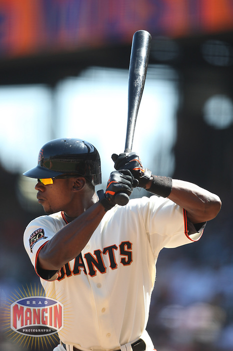 SAN FRANCISCO - SEPTEMBER 7:  Fred Lewis of the San Francisco Giants bats during the game against the Pittsburgh Pirates at AT&T Park in San Francisco, California on September 7, 2008.  The Giants defeated the Pirates 11-6.  Photo by Brad Mangin