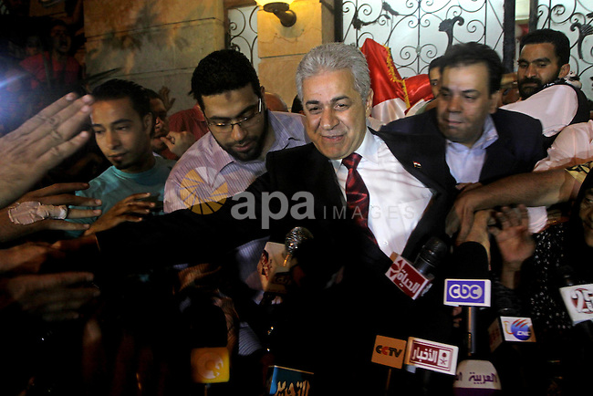 Egyptian presidential candidate Hamdeen Sabahi comments on the Egyptian election result at a press conference at his campaign headquarters in Cairo Egypt, Saturday, May 26, 2012. Of 13 candidates running for the presidency, Mohammed Morsi, along with Ahmed Shafiq, gained the largest number of votes placing Hamdeen Sabahi on third place. Photo by Ashraf Amra