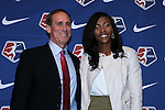 15 January 2016: Cheyna Williams (right), with head coach Jim Gabarra (left), was taken with the #7 overall pick by the Washington Spirit. The 2016 NWSL College Draft was held at The Baltimore Convention Center in Baltimore, Maryland as part of the annual NSCAA Convention.