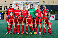 Boston, MA - Friday May 19, 2017: Portland Thorns FC starting eleven during a regular season National Women's Soccer League (NWSL) match between the Boston Breakers and the Portland Thorns FC at Jordan Field.