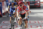 Race leader Michal Kwiatkowski (POL) Team Sky crosses the finish line at the end of Stage 4 of the La Vuelta 2018, running 162km from Velez-Malaga to Alfacar, Sierra de la Alfaguara, Andalucia, Spain. 28th August 2018.<br /> Picture: Colin Flockton   Cyclefile<br /> <br /> <br /> All photos usage must carry mandatory copyright credit (&copy; Cyclefile   Colin Flockton)