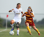 BROOKINGS, SD - AUGUST 23:  Diana Potterveld #7 from South Dakota State University pushes the ball past Alyssa Williamson #23 from Iowa State in the second half of their game Friday evening at Fischback Soccer Field in Brookings. (Photo by Dave Eggen/Inertia)