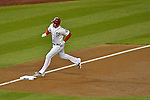 12 October 2012: Washington Nationals third baseman Ryan Zimmerman rounds third after hitting a 2-RBI homer in the first inning of Postseason Playoff Game 5 of the National League Divisional Series against the St. Louis Cardinals at Nationals Park in Washington, DC. The Cardinals rallied with four runs in the 9th inning to defeat the Nationals 9-7; thus winning the NLDS and moving on to the NL Championship Series. Mandatory Credit: Ed Wolfstein Photo
