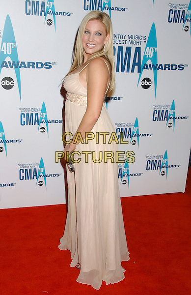 JULIE ROBERTS.Arrivals - 40th Annual CMA Awards held at Gaylord Entertainment Center, Nashville, Tennessee, USA, .06 November 2006..full length cream beige dress beaded looking back over shoulder.Ref: ADM/LF.www.capitalpictures.com.sales@capitalpictures.com.©Laura Farr/AdMedia/Capital Pictures. *** Local Caption *** .