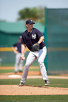 New York Yankees David Palladino (33) during a minor league Spring Training game against the Pittsburgh Pirates on March 26, 2016 at Pirate City in Bradenton, Florida.  (Mike Janes/Four Seam Images)