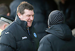 St Johnstone v Dundee United.....29.12.13   SPFL<br /> Tommy Wright shares a joke with Darren Jackson before kick off<br /> Picture by Graeme Hart.<br /> Copyright Perthshire Picture Agency<br /> Tel: 01738 623350  Mobile: 07990 594431