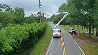 Crews restoring during Hurricane Dorian in St. Augustine, Fla. on September 4, 2019
